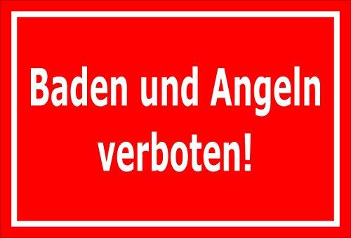 Melis Folienwerkstatt Schild Baden Angeln verboten 30x20cm - Bohrlöcher - 3mm Aluverbund – 20 VAR S00110-003-D
