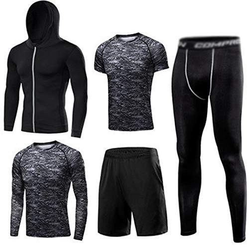 Conjunto de 5 piezas para hombre con mallas elásticas de alta elasticidad, ropa de entrenamiento, correr, gimnasio, juego de 5 piezas (color: negro, talla: XL)