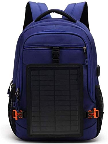 YCRCTC Hiking Backpack,Solar Backpack With Detachable Fast Charge Solar Panel Laptop Backpack Travel Hiking Hiking Waterproof Backpack for Ipad Smartphone (Color : Blue)