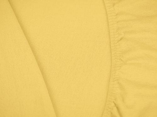 npluseins klassisches Jersey Spannbetttuch – erhältlich in 34 modernen Farben und 6 verschiedenen Größen – 100% Baumwolle, 70 x 140 cm, gelb - 5