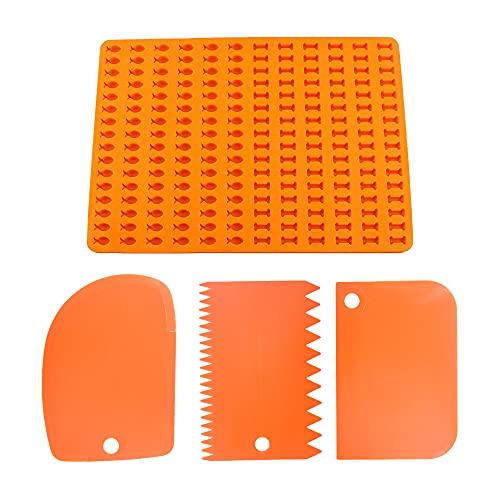 MOPOIN Molde de silicona para galletas para perros, sin BPA, con 2 cortadores de masa para hornear (naranja)