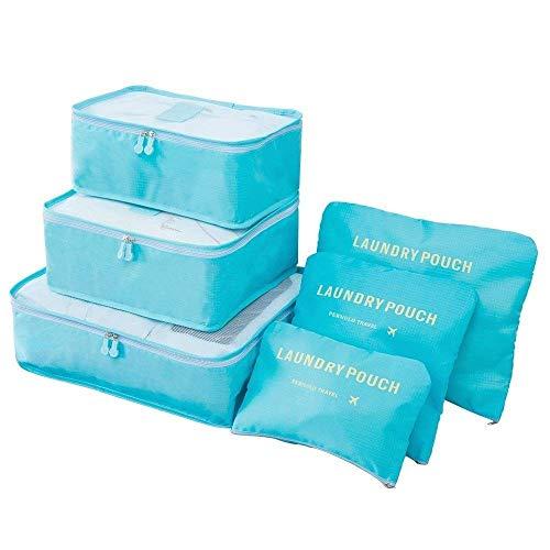 6 en 1 Set de Organizador de Equipaje Viaje con Bolsa de Zapato,Impermeable Organizador de Maleta Bolsa para Ropa Sucia de Viaje, Material Nylon (Azul Claro)