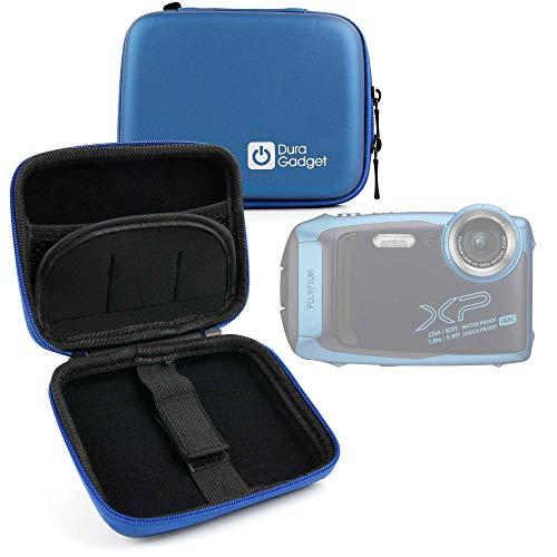 DURAGADGET Custodia Rigida Blu per Fotocamera Fujifilm FinePix XP140 - con Elastici - Ideale per I Viaggi - Alta qualità