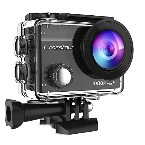 Crosstour Action Camera Full HD Wifi Cycling Riding Vlog Underwater 30M with 2 Rechargeable Batteries IP68 Waterproof
