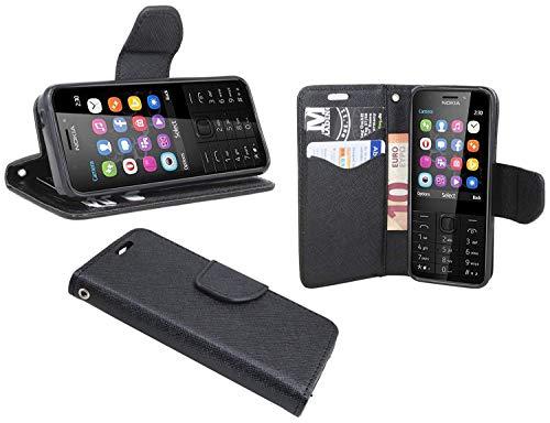 cofi1453 Elegante Buch-Tasche Hülle kompatibel mit Nokia 230 in Schwarz Leder Optik Wallet Book-Style Cover Schale