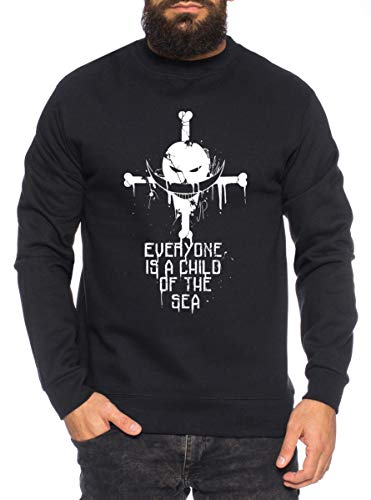 Sea Zorro One Manga Herren Sweatshirt Ruffy Anime Piece, Farbe:Schwarz, Größe:L
