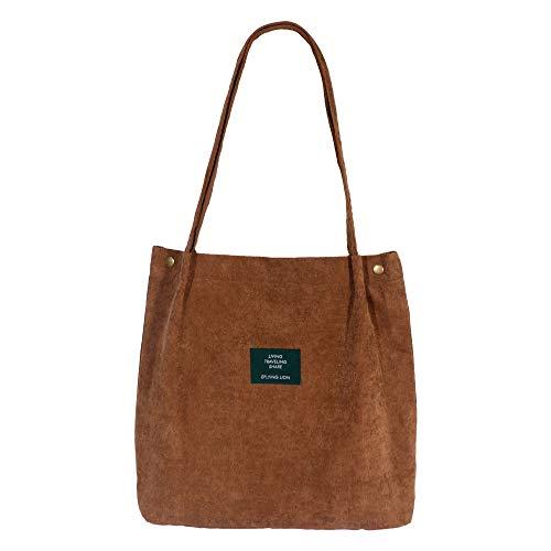 Eflying Lion Cord Schultertasche Damen Lässige Handtasche Mädchen Einkaufstasche Faltbar (M, Braun)