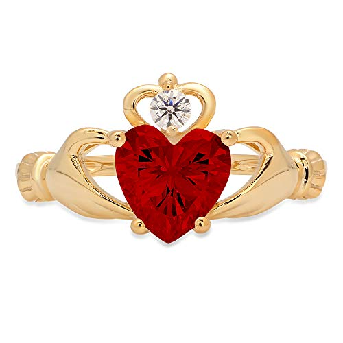 1.52ct Heart Cut Irish Celtic Claddagh Solitaire Natural Scarlet Red Garnet Gemstone VVS1 Designer Modern Statement Ring 14k Yellow Gold, Size 4.75 Clara Pucci