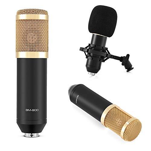 Microfono a Condensatore Cardioide BM-900, Set Microfono Professionale per Radiodiffusione da Studio con Supporto Antiurto, Cappuccio in Schiuma, Cavo di Alimentazione