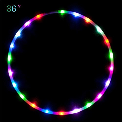 """Maylai 36"""" Led Hoola Hoop for for Kids and Adults Changing LED Light Weight Exercise Light Up Hoola Hoops"""