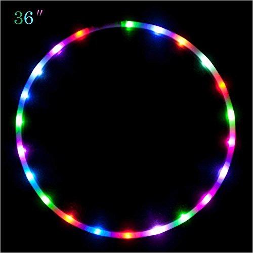 Maylai 36' Led Hula Hoop para niños y Adultos Cambio de Luces LED Peso Ligero Hula Hoops
