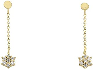 Bevilles 9ct Yellow Gold Silver Infused Cubic Zirconia Star Drop Earrings