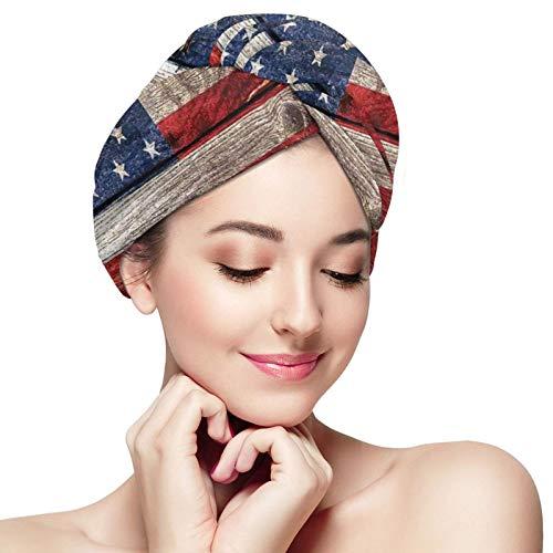 Toalla de pelo bandera americana vintage toalla de microfibra para el pelo peluquería baño pelo Cap secado rápido Wrap para el pelo largo mujeres turbante