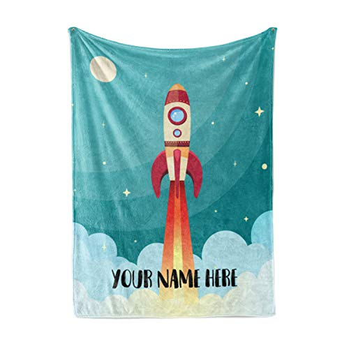 """Personalized Kids Rocket Launch Space Theme Fleece Blanket - Boys Girls Toddler Baby Throw Blanket Perfect for Travel, Portable, Nursery (50"""" x 60"""" - Sherpa Gray)"""