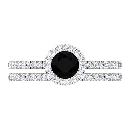 Anillo de compromiso de diamante negro creado en laboratorio de 1,50 quilates con anillo de boda de moissanita (calidad de reliquia), oro blanco, diamante negro creado en laboratorio, tamaño: UK V1/2