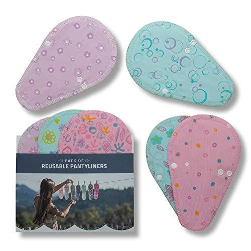 Salvaslips de tela reutilizables TANGA, 7-Pack Protege Slips de algodón con alas HECHAS EN LA UE, Compresas Ecológicas sin PUL, Toallas Sanitarias - el uso diario y flujo blanco, NO para menstruación