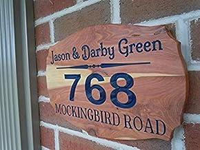 23x30cm Adres voor Huis Home Adres Huis met Numbers Aangepaste Outdoor Naam Gepersonaliseerde Houten 12 X 9 Rode Deur Hang...