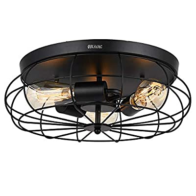 Industrial Vintage Semi Flush Mount Ceiling Light Rustic Metal Cage Ceiling Light Fixture 3-Light for Kitchen Hallway Bedroom Farmhouse (Bulbs not Included)