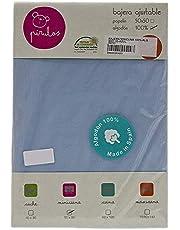 Pirulos Sábana Bajera Ajustable de Alta Calidad 100% Algodón para Mini Cuna de 50 x 80 cm/Sábana Bajera Minicuna Bebé Alta Calidad, Color Azul