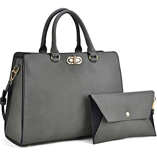 Dasein Women Handbags Fashion Satchel Purses Top Handle Tote Work Bags Shoulder Bags with Matching Clutch 2pcs Set (Peppled grey)