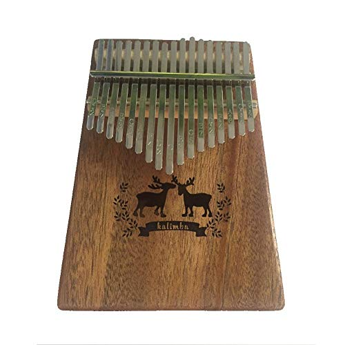 YNuo 17 Keys Kalimba Thumb Piano Mahogany Body Deer Pattern Musical Instrument Planken Portable Met Tuning Hammer (Color : Elk)