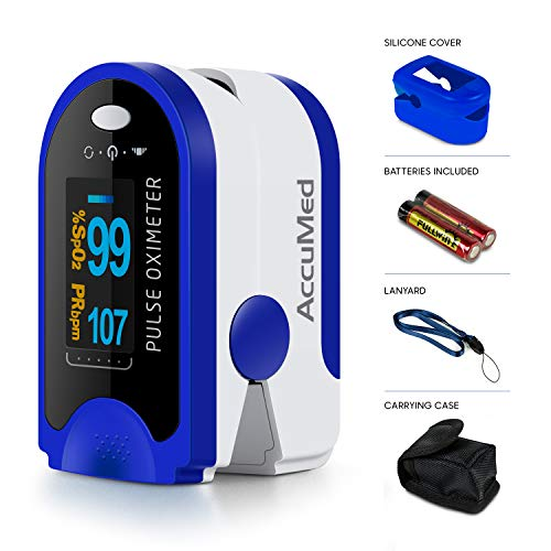 AccuMed Fingertip Pulse Oximeter, Sp02 Finger Blood Pulse Oxygen Monitor, w/Carrying case, Lanyard Silicon Case & Battery CMS-50D (Blue)