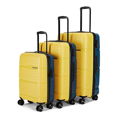 Nasher Miles Nicobar Hard-Sided Dual Tone Polypropylene Luggage Set of 3 Yellow and Navy Blue Trolley Bags (55, 65 & 75 cm)