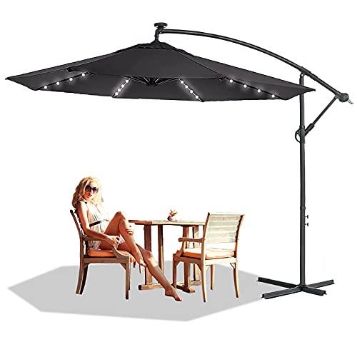NAIZY Alu Sonnenschirme Sonnenschutz Gartenschirm Höhenverstellbarer Ampelschirme mit kurbel Balkonschirm UV40+ für Balkon, Garten, Tarasse (Ø300 cm mit LED, Dunkelgrau)