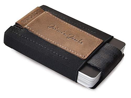 JAIMIE JACOBS Nano Boy Mini Wallet, Mini Geldbörse aus Textil, Kleiner Geldbeutel, Slim Wallet mit Zugband Kartenhalter, Mini-Portmonee, Kartenetui für Herren und Damen (Büffelleder Braun)