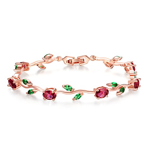 BISAER Mothers Day Gift/Lovely Rose Gold Plated Bracelets with AAA Cubic Zirconia Ruby Flower Emerald Leaf Beautiful Vine Bracelet for Women 7 Inch-Ideal Tennis Bracelets Valentine's Day Gift