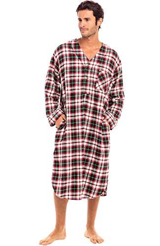 Alexander Del Rossa Herren Schlafhemd aus leichtem Flanell Langes Henley Nachthemd Pyjama - Rot - Large