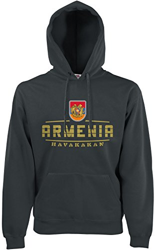 AkyTEX Armenien Armenia Fan Hoodie Kapuzenpullover WM2018 Graphit L