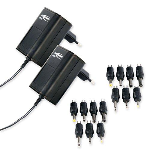 2 ANSMANN APS 300 Universal Stecker Netzteil 12V inkl. 7 verschiedende Adapter Stecker - Netzstecker bis max. 300mA - Netzadapter zur Stromversorgung vieler Elektrokleingeräte von 3-12 Volt regelbar