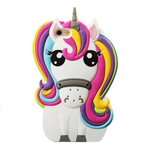 Rainbow Unicorn iPhone 4 4S Case,Awin 3D Cute Cartoon Rainbow Unicorn Horse Animal Soft Silicone Rubber Case for iPhone 4 4S (Rainbow Unicorn)