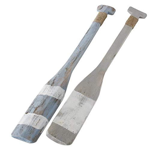 CasaJame Holz Deko Paddel Ruderpaddel 2er Set farbl. Sortiert L90cm blau/grau