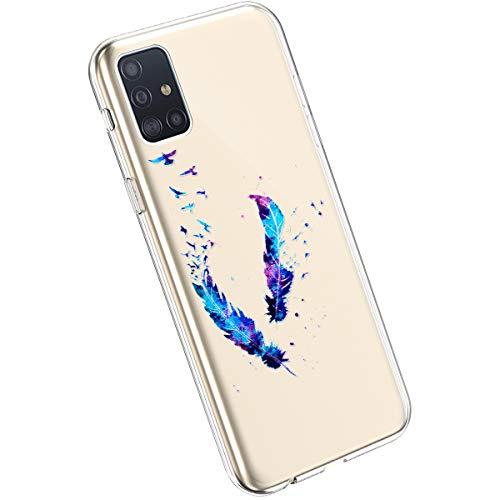 Ysimee Compatible avec Samsung Galaxy A51 Coque en Silicone Élégant et Mignon avec Conception Peinte TPU Ultra Resistant Souple Housse Flexible Antichoc Bumper Case Ultra Mince Léger Cover,Plume
