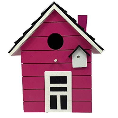 CasaJame Holz Vogelhaus für Balkon und Garten, Nistkasten, pink, Haus für Vögel, Vogelhäuschen, 20 x 17 x 12cm