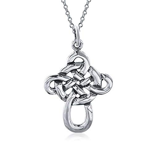 Mens Viking Irish Celtic Knot Twisted Cross Pendant Necklace For Women For Men 925 Sterling Silver 16 Inch