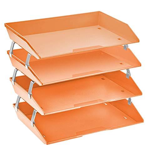 Acrimet Facility Organizzatore di Documenti in Plastica Vaschette Portadocumenti per Ufficio a 4 Ripiani Laterale (Arancione Acceso)