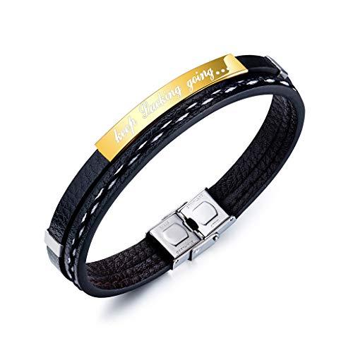 Inspirierende Geschenke für Männer Manschette Armband Armreif personalisierte Motivations-Mantra Zitat halten Ficken gehen Edelstahl graviert Lederarmband,Gold