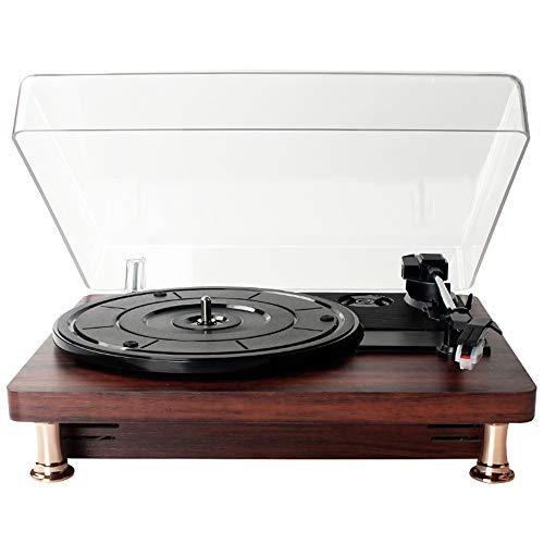Reproductor de Discos de Vinilo de Madera Estéreo sin Pérdidas Música Clásica Nostalgia Vinilo LP Tocadiscos Bluetooth Reproductor de Música con Cubierta Antipolvo