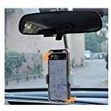 Car Rearview Mirror Mobile Phone Stands, Adjustable Telescopic Mobile Phone Holder, 360° Rotation Navigation Bracket, Multi-Function Universal Mobile Phone Holder (White)