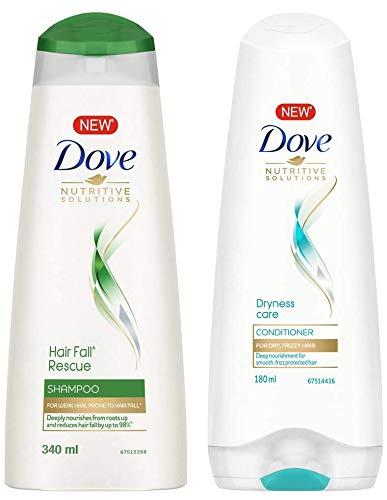 Dove Hair Fall Rescue Shampoo, 340ml And Dove Dryness Care Conditioner, 180ml
