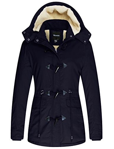 Wantdo Women's Warm Coat Hoodie Parka Fleece Lined Jacket Navy, S