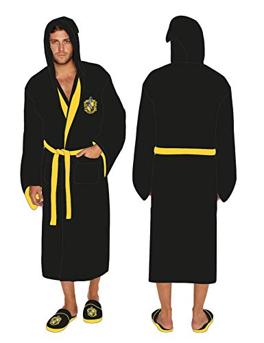 Groovy-Hufflepuff-Harry-Potter-Hooded-Bathrobe-Polyester-Black-One-Size