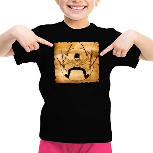 T-Shirt Enfant Fille Noir One Piece parodique Zoro Roronoa : Da Vinci Samurai ! (Parodie One Piece)
