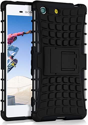 ONEFLOW Tank Hülle kompatibel mit Sony Xperia M5 - Hülle Outdoor stoßfest, Handyhülle mit Ständer, Kamera- & Displayschutz, Handy Hardcase Panzerhülle, Obsidian - Schwarz