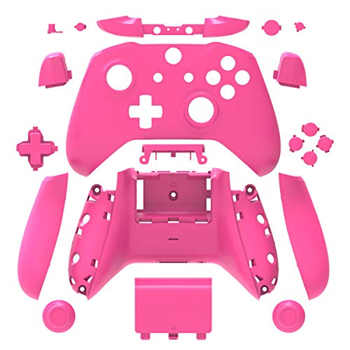 Pink Matt Finish Full Housing Shell Case Cover Mod Kit Replacement for Xbox One S & Xbox One X Controller DIY Custom Including Front Faceplate Bottom Shell Buttons Tools