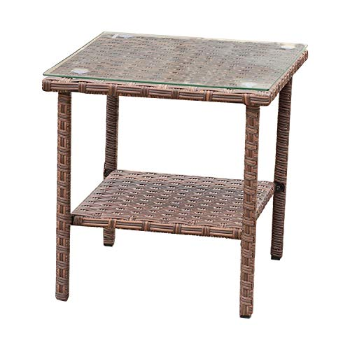 Outdoor Wicker Glass Top Side Table - Patio Balcony Deck Pool Square End Table with Storage, Dark Brown