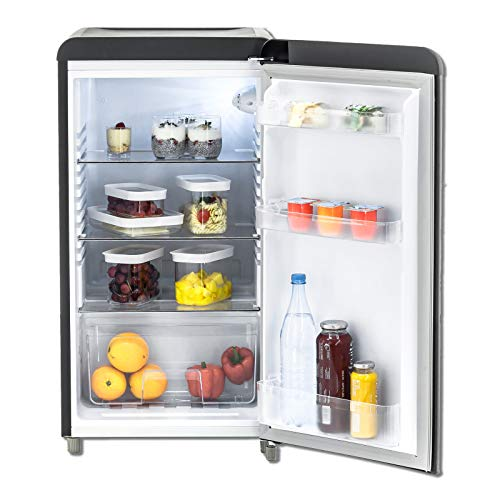 EXQUISIT Kühlschrank - RKS 100-16RVA++ - mattschwarz - Retrooptik